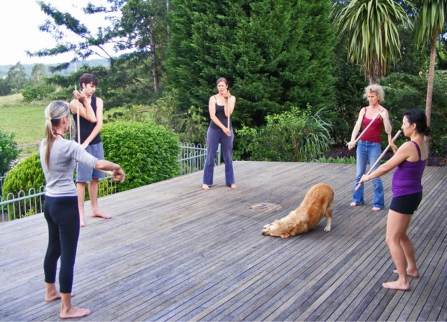 Jo Ross (at left) teaching body awareness at our home