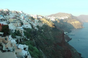 Santorini: clutching the edge of plunging cliffs