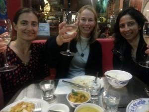 Vicki with new friends, Penka and Laila