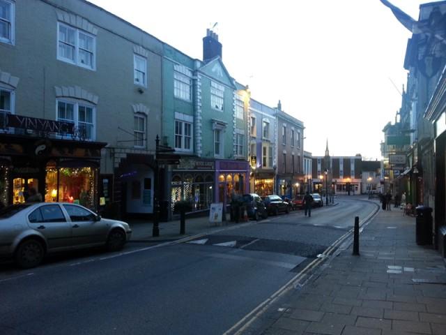 High Street, Glastonbury. Spot the whacky shop names. Lovely!