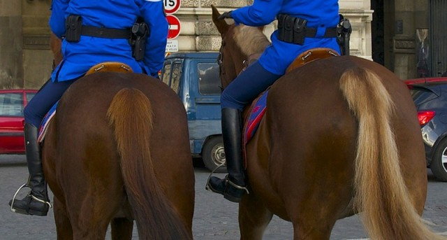 Interfacing with horses: bums on backs. Here the French mounted police.