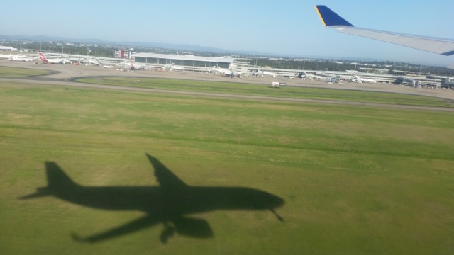 Coming into land at Brisbane Airport
